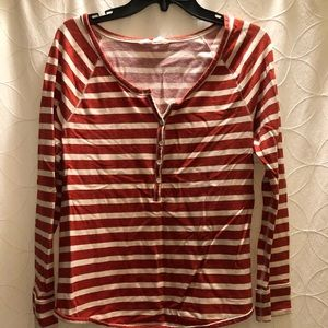 Old Navy Red-Orange Striped Top, Medium